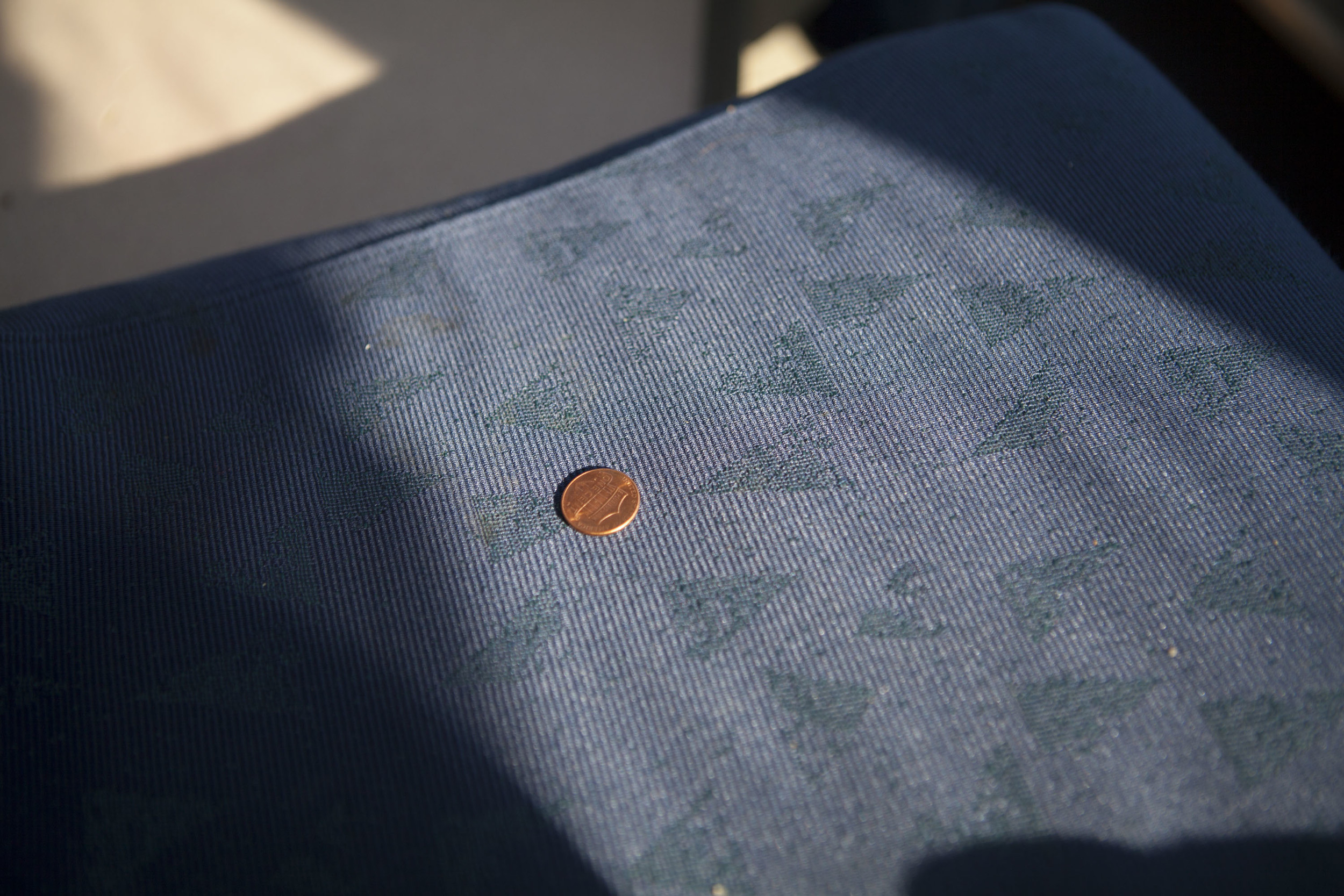 Parting pic: lucky penny found on the chair when I first sat down in the observation car.