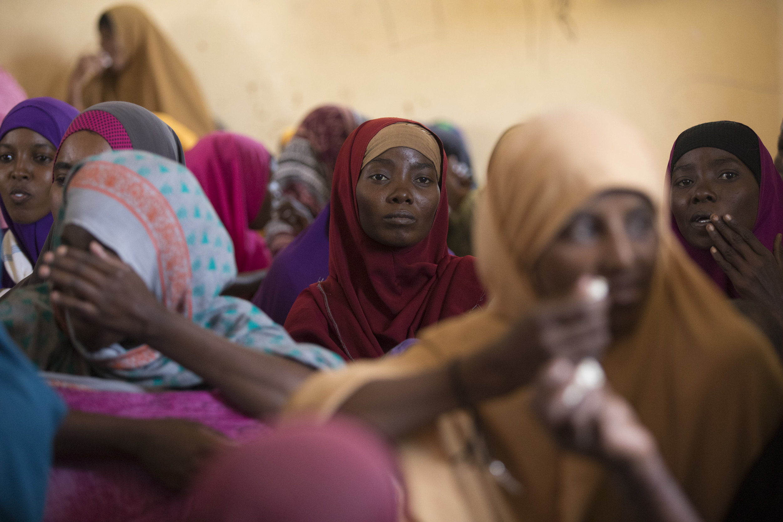 A woman sits in a meeting for gender based violence outreach in Melkadida refugee camp in the Somali region of Ethiopia on 19 Dec 2017. AFP Photo / Zacharias Abubeker