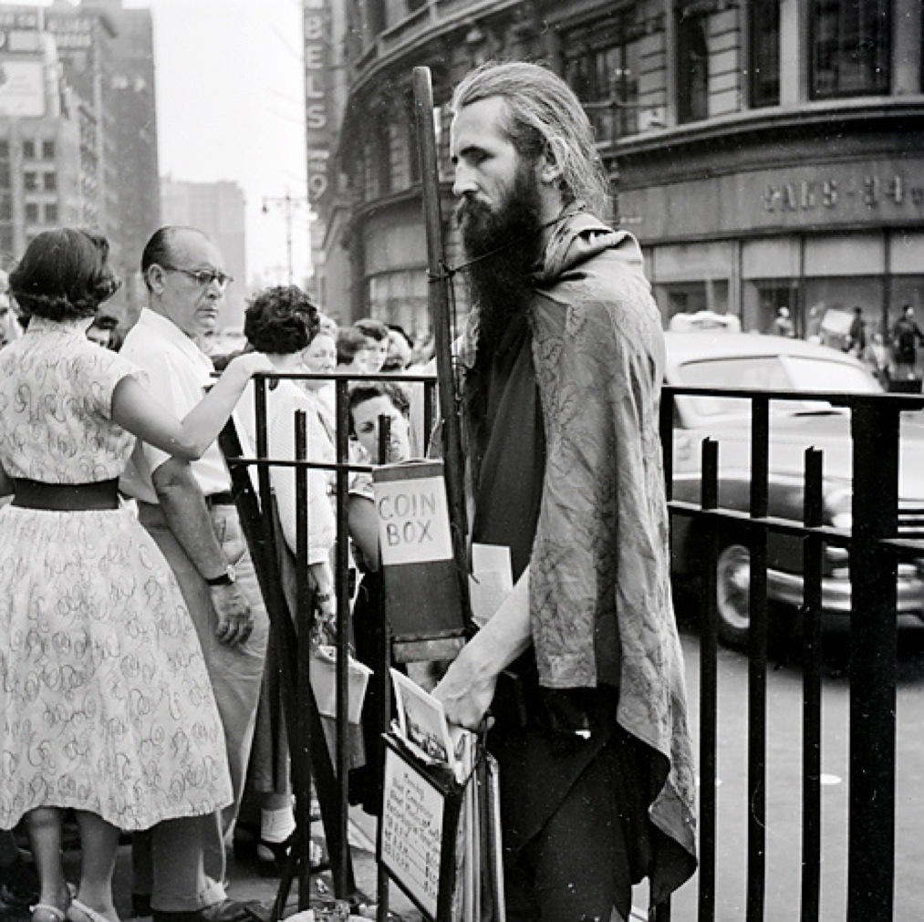Moondog at Herald Square. 1953.jpg