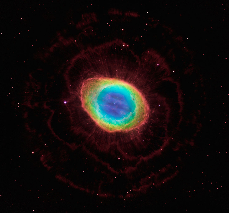 The region around the Ring Nebula via  ESA, NASA, HEIC and The Hubble Heritage Team STScI/AURA)