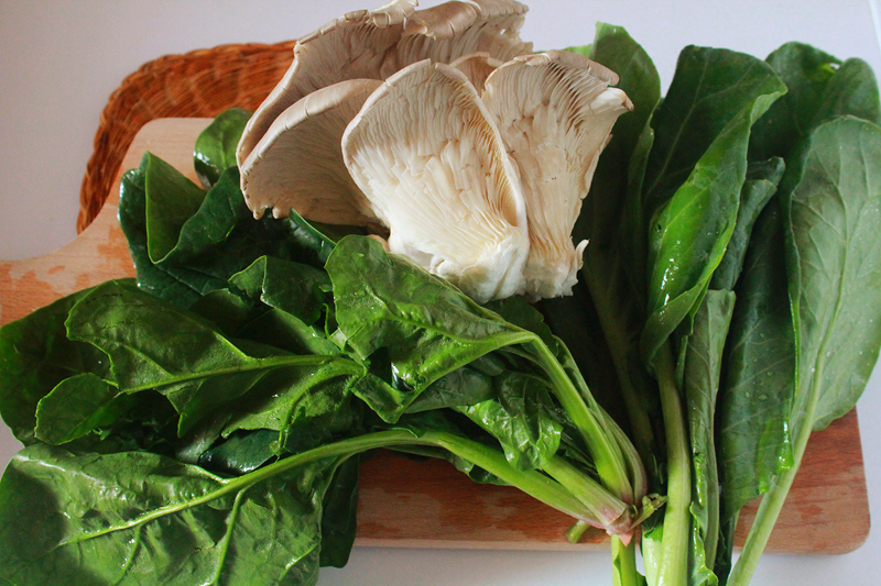 cabbage spinach and pleurotus mushrooms.jpg