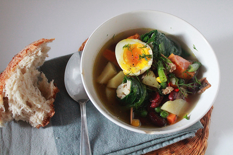 Colorful Stew with Cabbage Feta Rolls & Soft Boiled Eggs