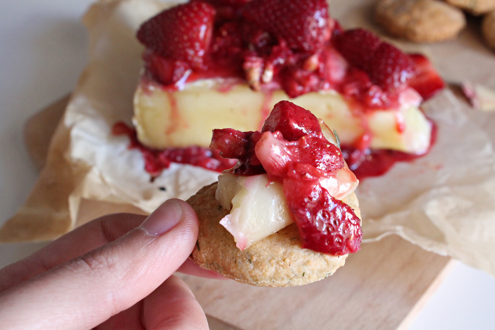 Strawberry & Walnuts Baked Brie and rosemary and mushroom crackers