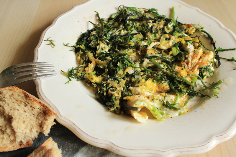 Recipe for omelete with wild asparagus