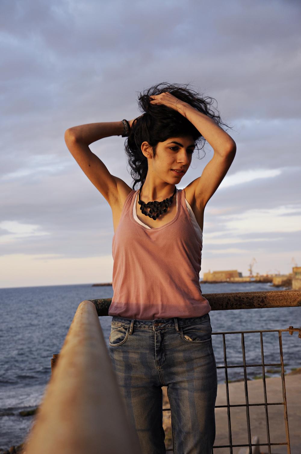photoshoot for the pistachio shells necklace, photos by Vasilis Ioakeimidis