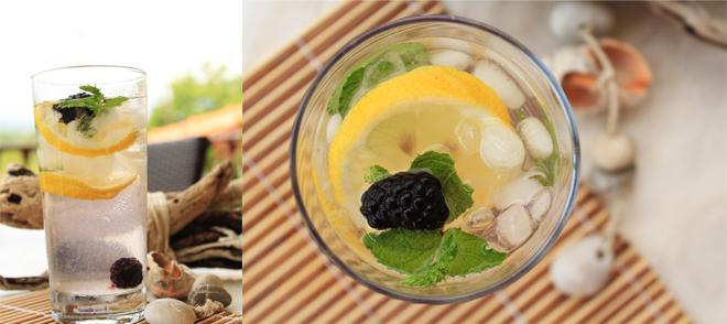 Νερό με λεμόνι, μεντοδυόσμο και βατόμουρο - Water with lemon, blackberries and mintspearmint.jpg