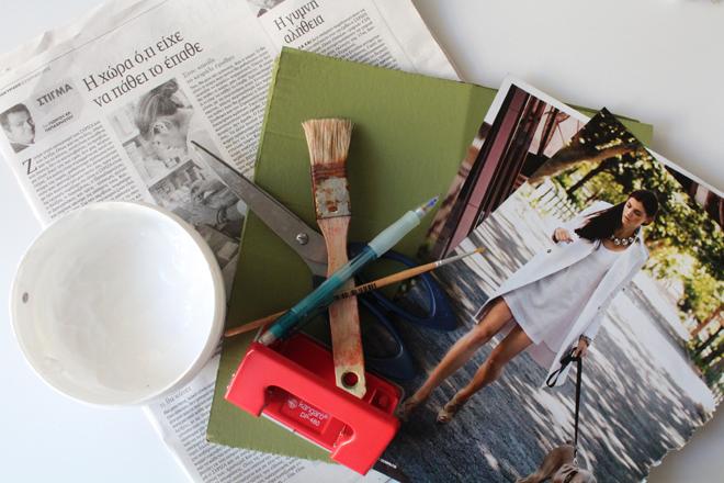 Κολάζ απο κομφετί με vintage φιλί υλικά