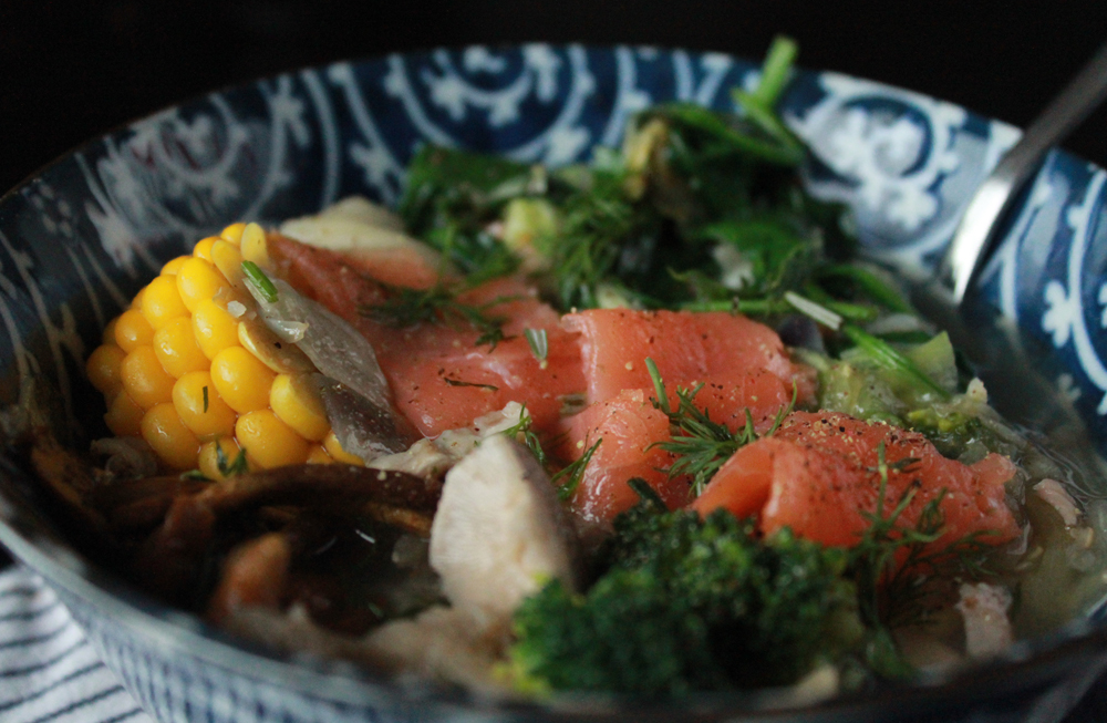 Spring soup with salmon, mushrooms, broccoli, spinach & corn | In Whirl of Inspiration