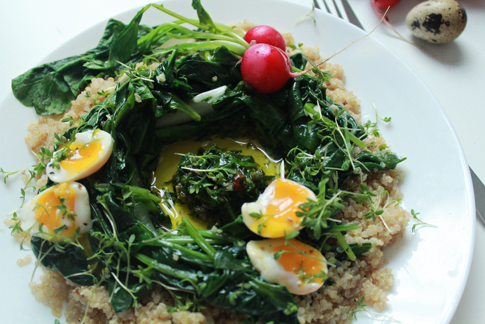 Quinoa & bulgur salad with spinach, chards, radishes, soft-boiled eggs and capper pesto (via inwhirlofinspiration.com) 2