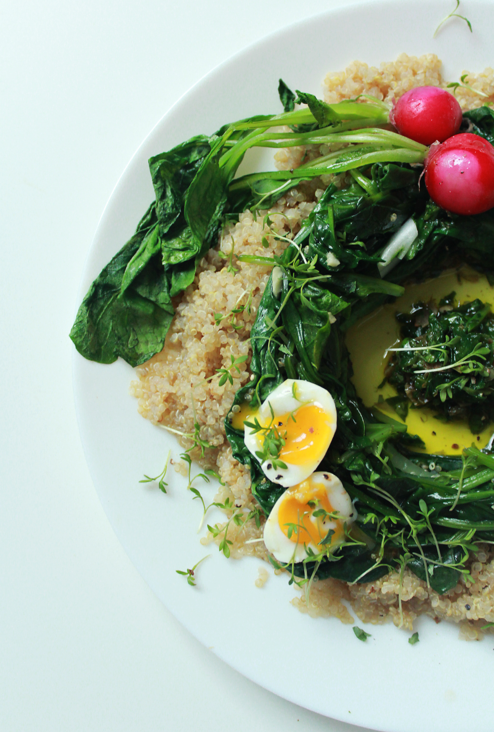 Quinoa & bulgur salad with spinach, chards, radishes, soft-boiled eggs and capper pesto (via inwhirlofinspiration.com) 3