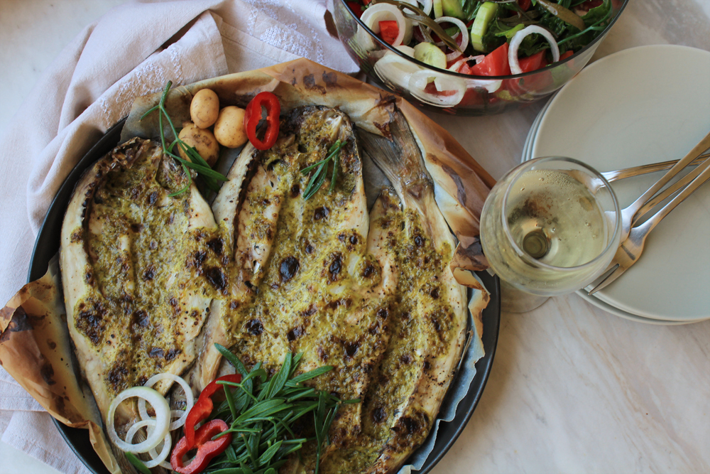 Open baked mullet in the oven with a sauce of lemon, mustard & olive oil | by IN WHIRL OF INSPIRATION