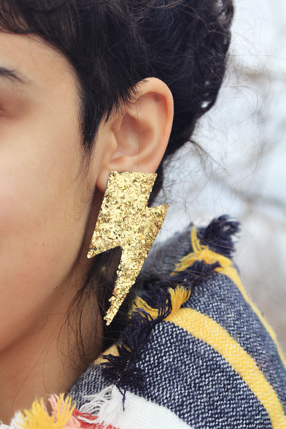 Bowie Lightning-Shaped Earrings with Glitter (and clip ons) | by In Whirl of Inspiration