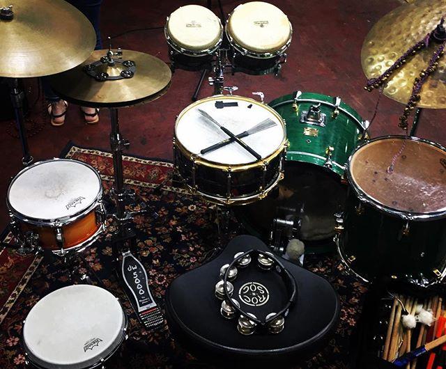 Last nights set up with Cary Hudson and Katrina Miller #drums #caryhudson #laurelmississippi #iliveinlaurel