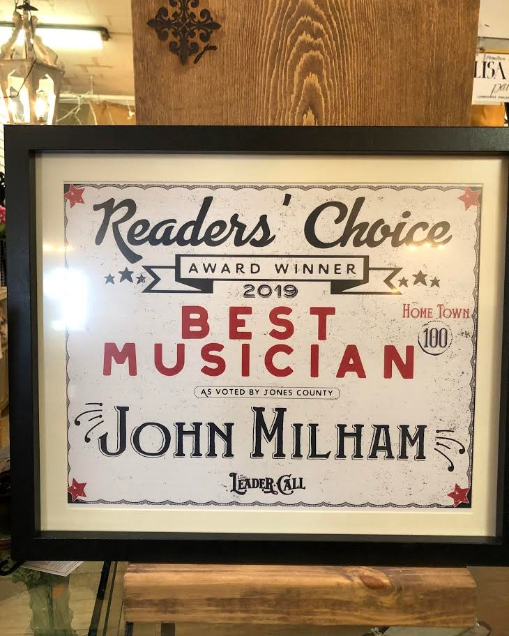 "- Thank You to all who voted John Milham ""Best Musician"" in this years Readers Choice Awards at The Laurel Leader Call!"