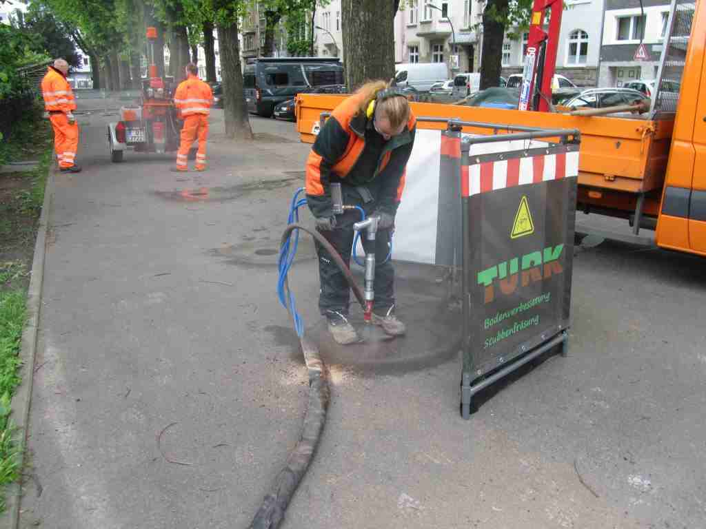 trees can be treated through pavements, then vents are installed to permanently improve aeration