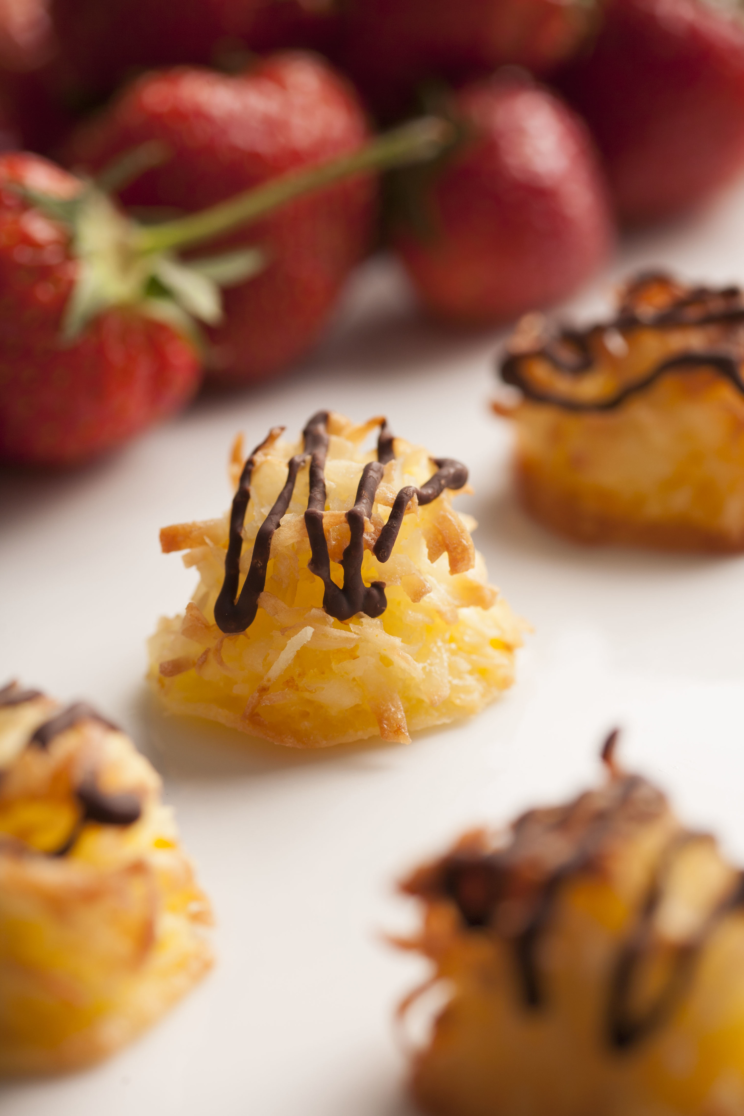 orange coconut macaroon | dark chocolate drizzle
