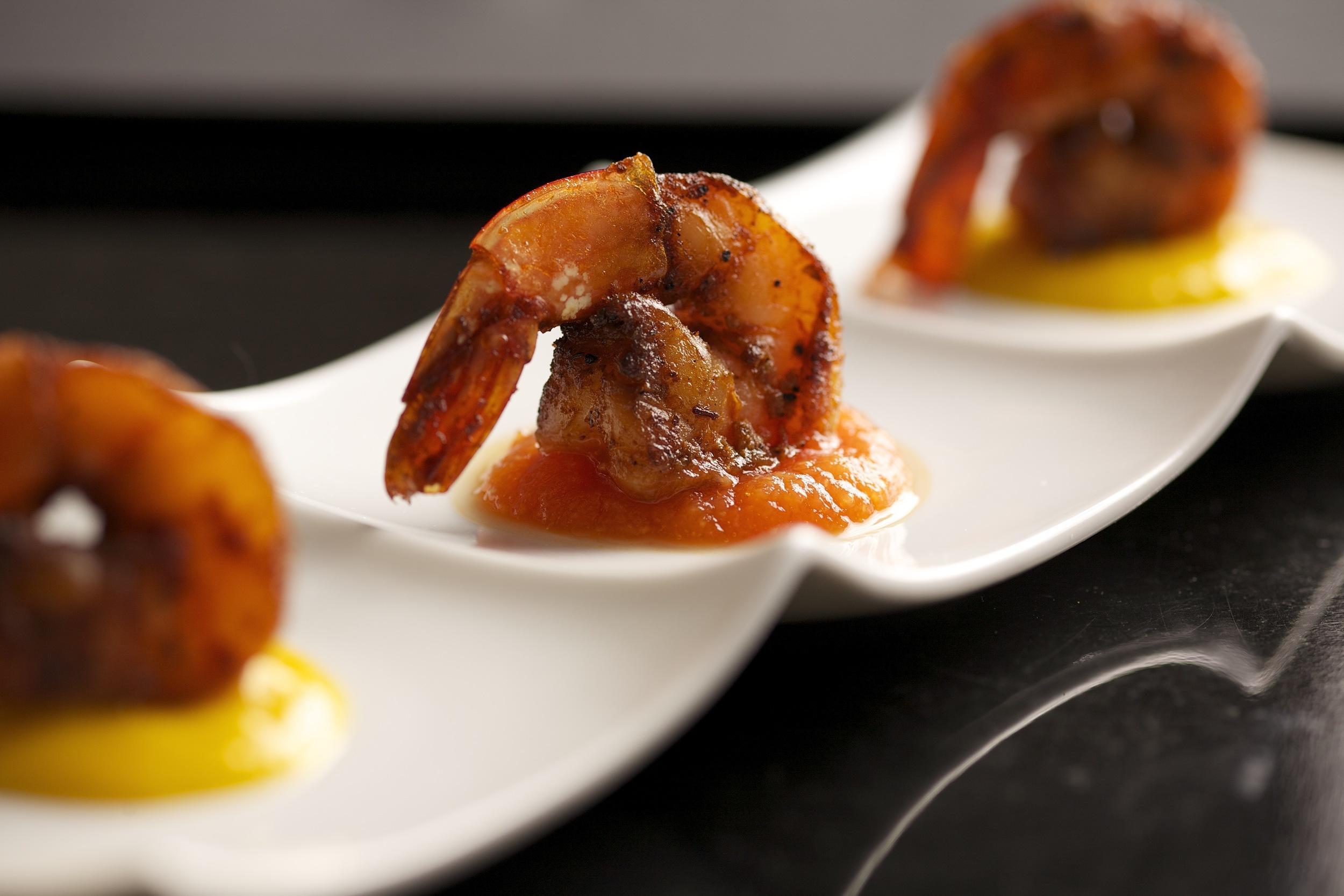 cajun grilled shrimp | mango papaya coulis