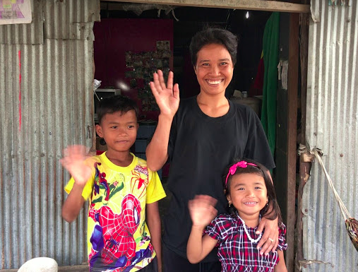 So Thy and her children in front of their home, and the new location of LMD Dai in Poipet, Cambodia.