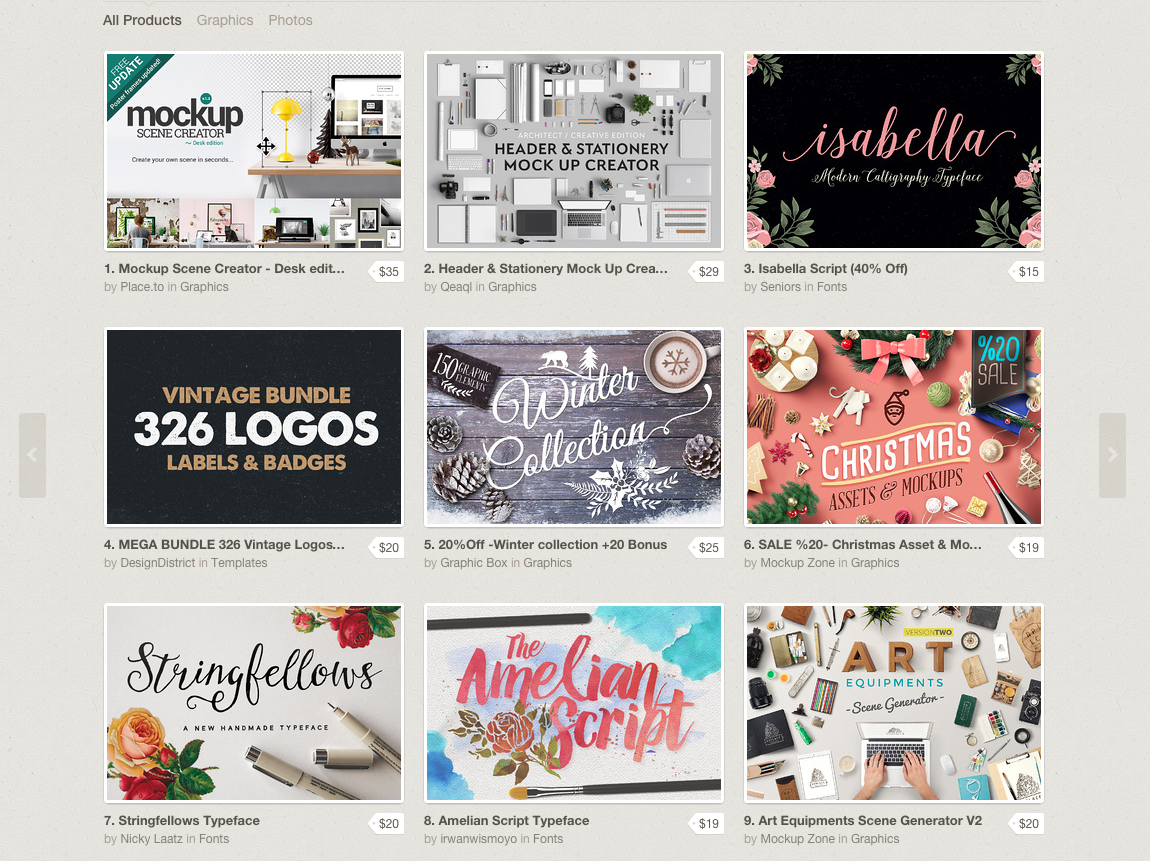 Just a sampling of what Creative Market offers