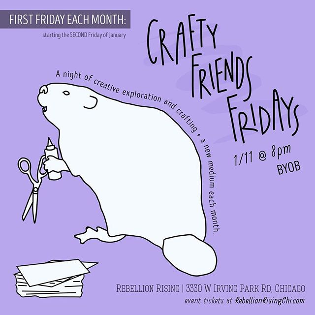 Exciting announcement! 📣 I'm going to start hosting a monthly event, Crafty Friends Fridays, at @rebellion.rising.  On the first Friday each month (starting on the second Friday in January), join us for a night of creative exploration and crafting! Each month we'll dive into a new medium and way of making. Come have a few drinks (byob), learn a new skill, make some crafty new friends, and leave with a craft of your very own. Save the date for our very first event - January 11. Tickets available now! — #craftyfriendsfridays #jfrankmakesstuff #rebellionrising #rebellionrisingchi #chicago #chicagoevents #craftnight #chicagocraftnight #craftyfriends #craftybeaver #firstfridays #firstfridayschicago #artlife #👩🏻🎨 #illustration #graphicdesign #jfrankdesigns