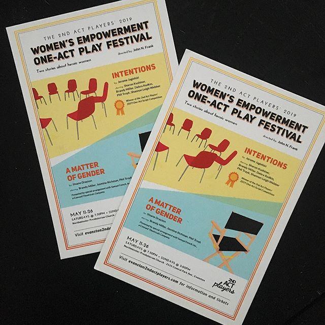 A new play festival starts next weekend! Lady empowerment. Saturdays at 7:30 and Sundays at 3:00. Come check it out! — #idrewsomechairs #jfrankdesigns #2ndactplayers #womensempowerment #playfestival #oneactfestival #chicagotheater #theaterinchicago #evanston #evanstontheater #yearofchicagotheatre #supportthearts #graphicdesign #graphicdesigner #illustrator #designfortheatre