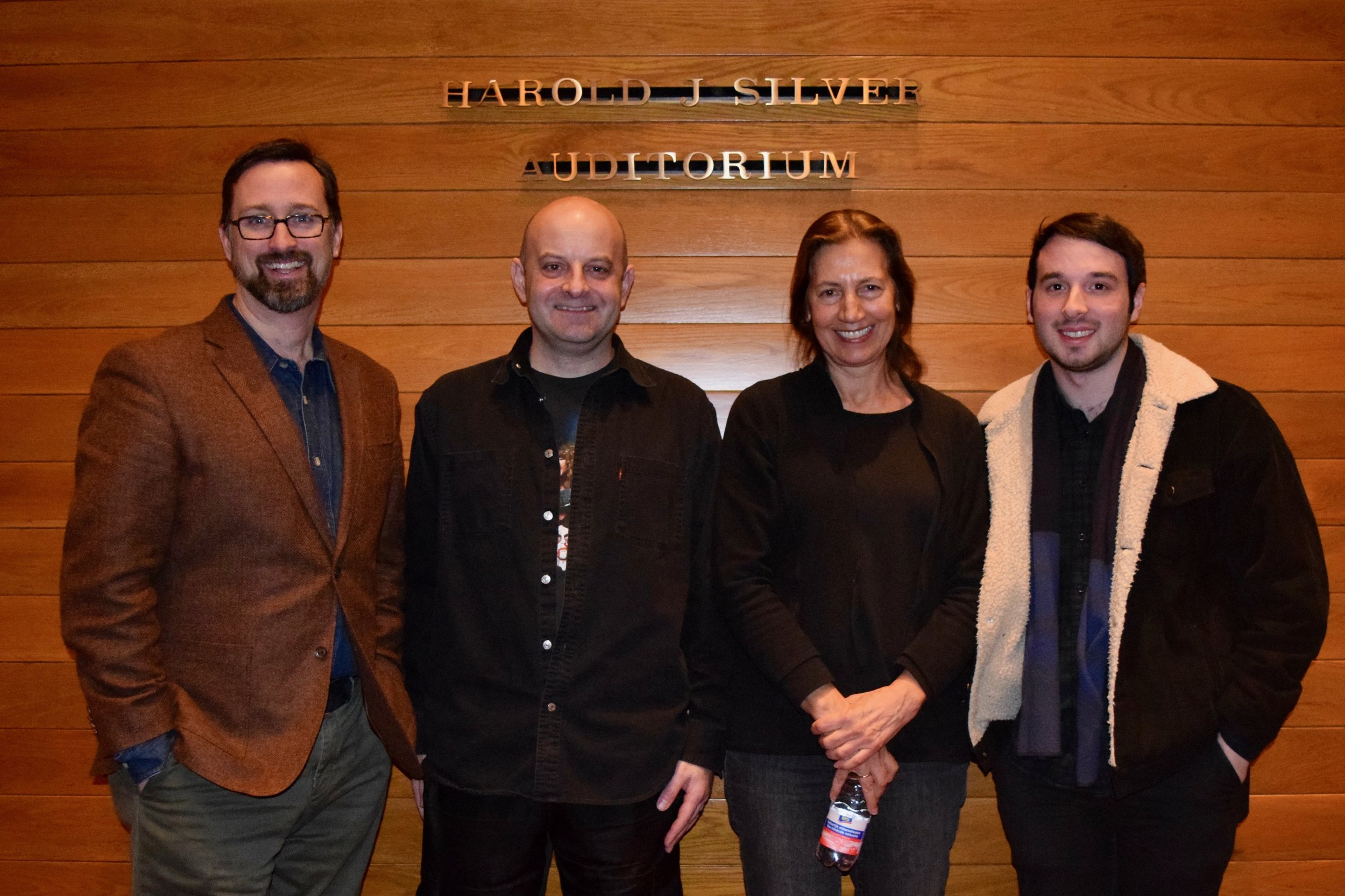 (L–R): Head of School Marshall Carter; Lucas, subject of Lost in the Bewilderness; Alexandra Anthony, filmmaker of Lost in the Bewilderness; Noah Bartel, filmmaker of The Young Armenian.