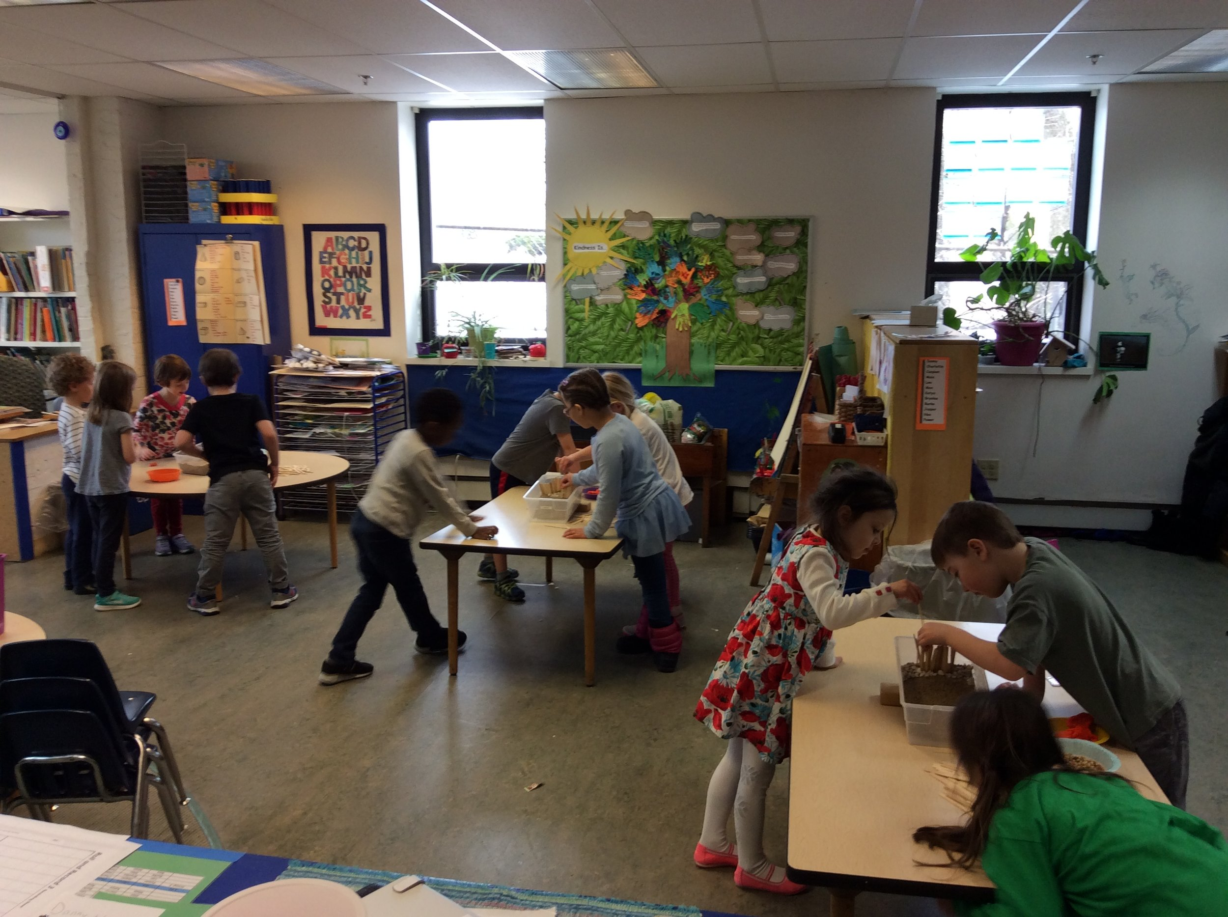 As part of a lesson about engineering, Kindergarteners made and tested their own dams.