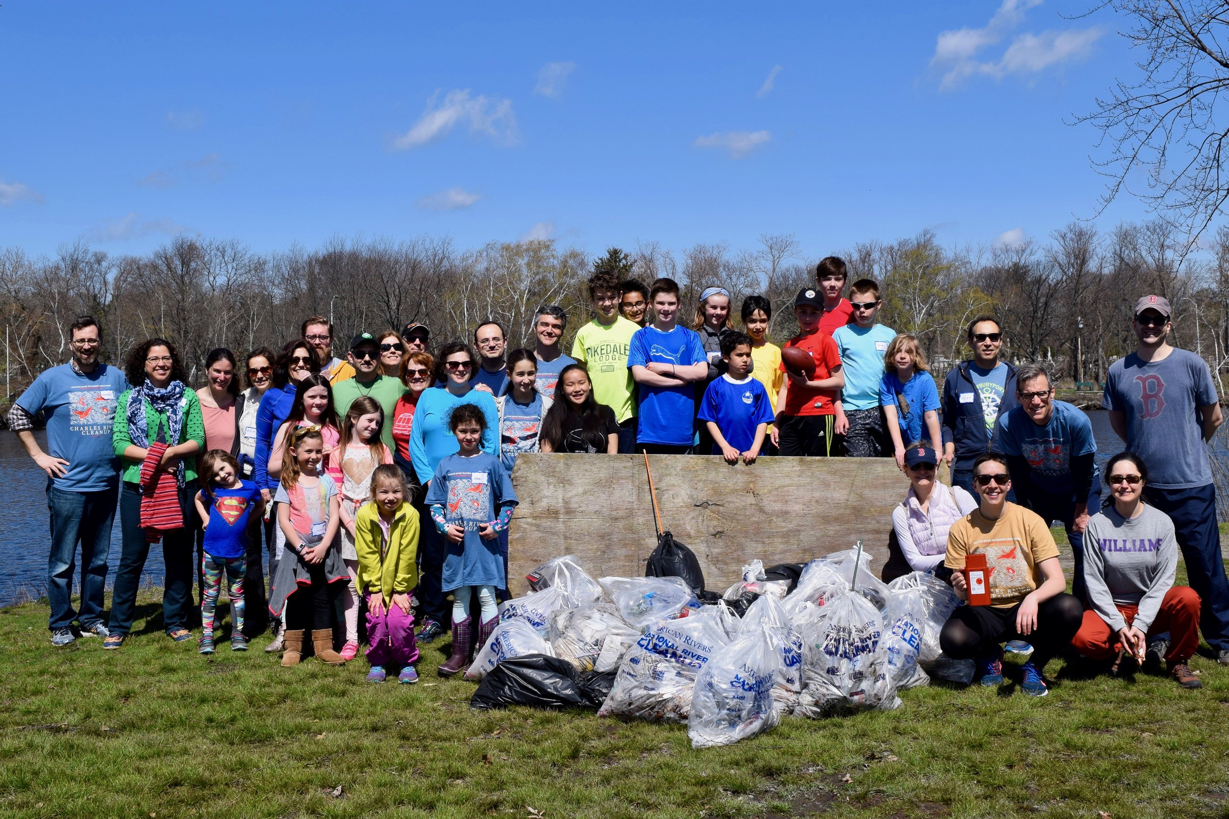 Atrium volunteers at the Charles River Cleanup, joined by event sponsor State Senator William N. Brownsberger (at right, in blue shirt and glasses).