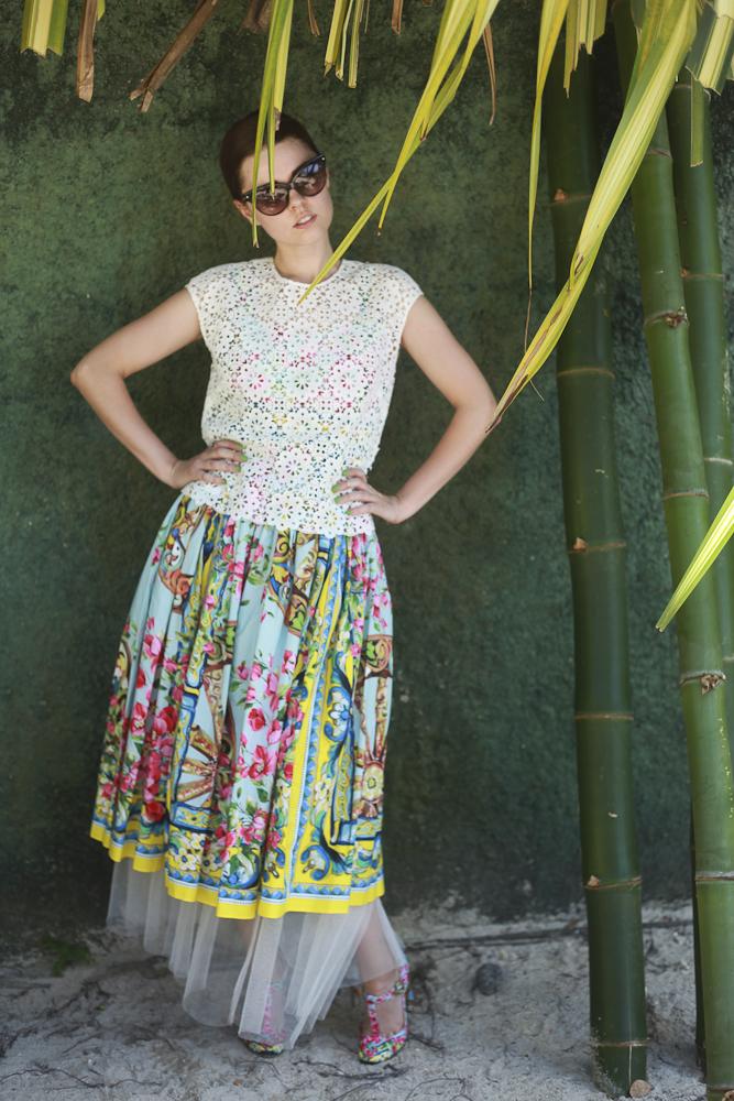 Freya in Dolce & Gabbana, Dior, Madam Virtue & Co. and Catbird