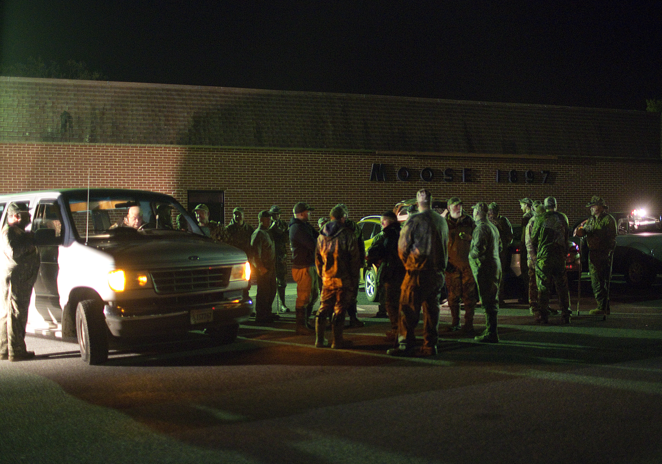 Turkey hunters gather outside of the Moose Lodge in Bedford between 4 and 4:30a.m. on Saturday, April 25, 2015. The 10th annual Gunnin' for Gobblers event, sponsored by the Bedford Outdoor Sportsman Association sent 44 hunters into the fields across Bedford County.