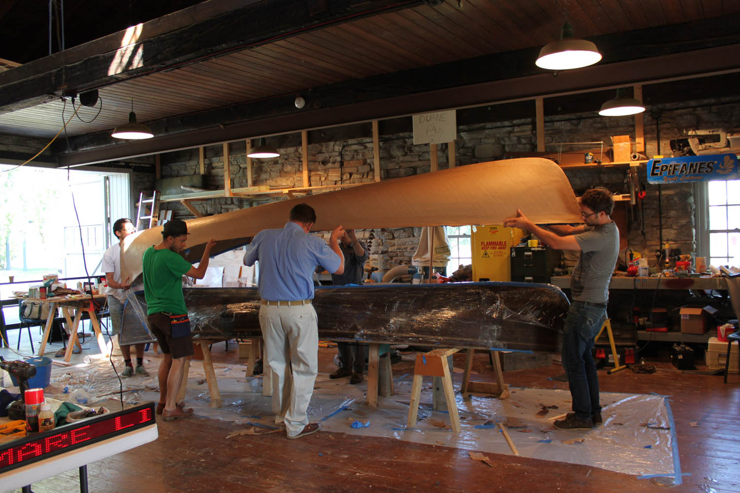 The paper hull comes off the mold in the ABM shop