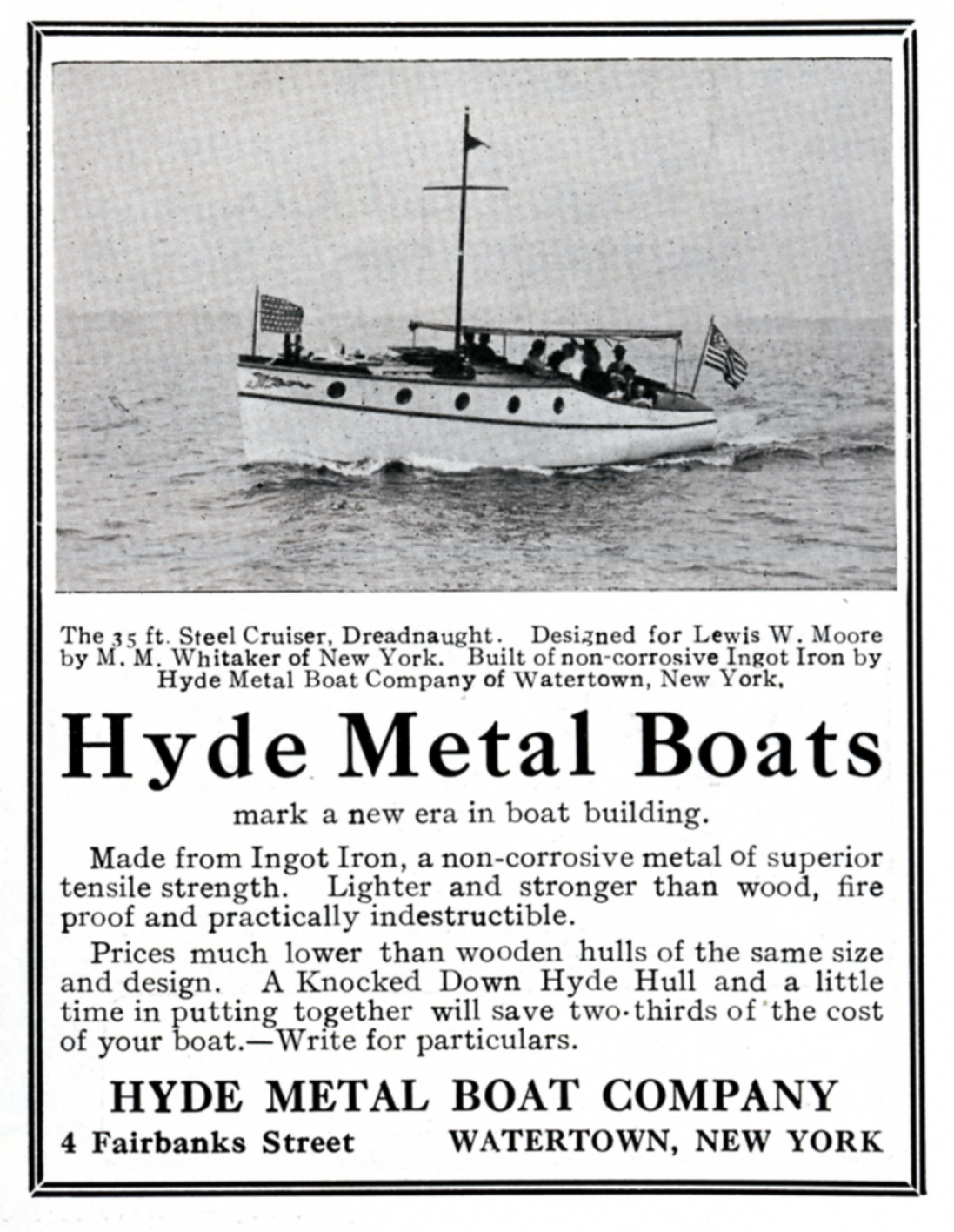 Advertisement for the Hyde Metal Boat Company featuring  Dreadnaught . Seen in Motor Boating, Power Boating, and Rudder Magazines 1910-1911.