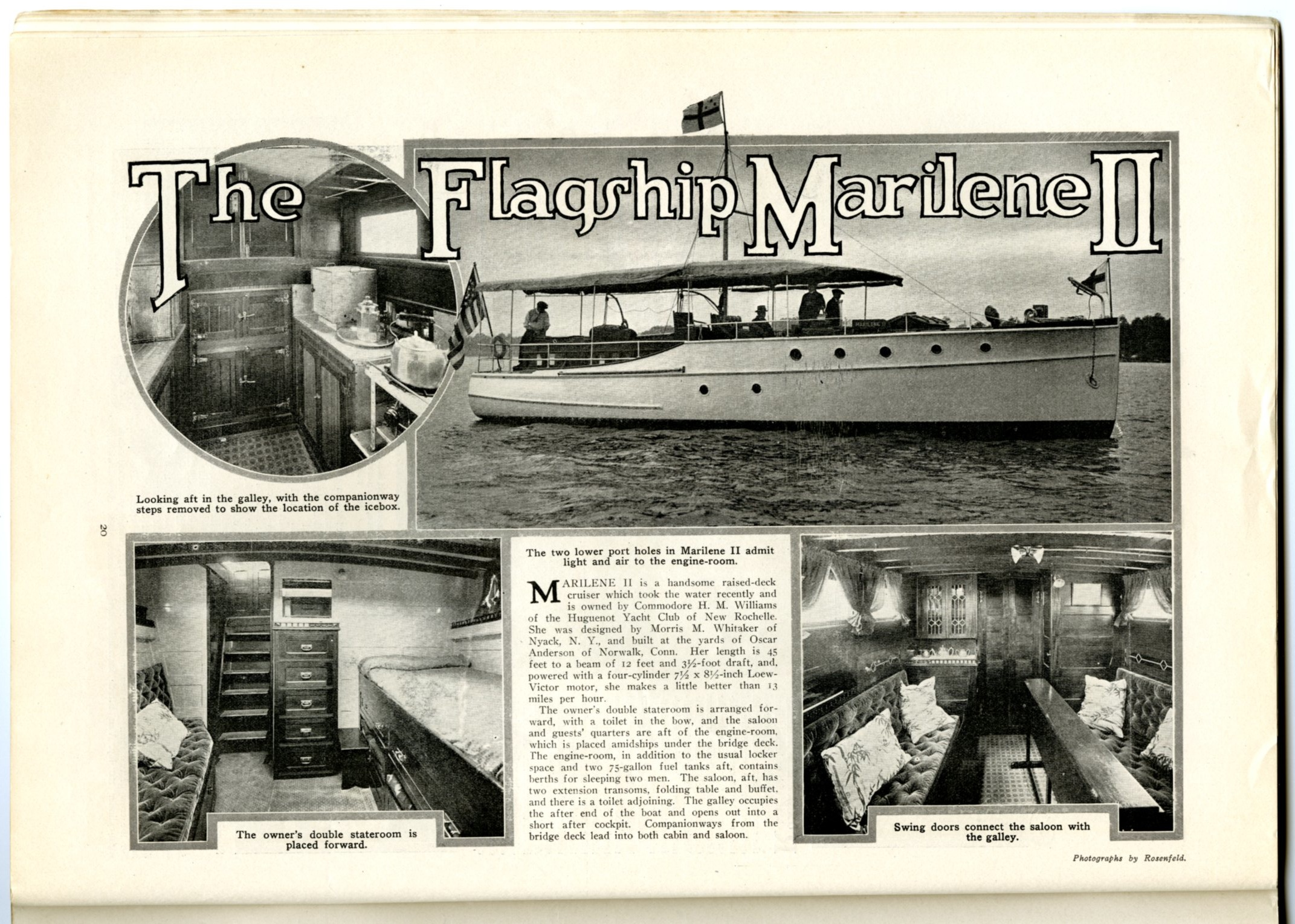 Another design by Morris Whitaker from the same year, pictured in Motor Boating magazine.