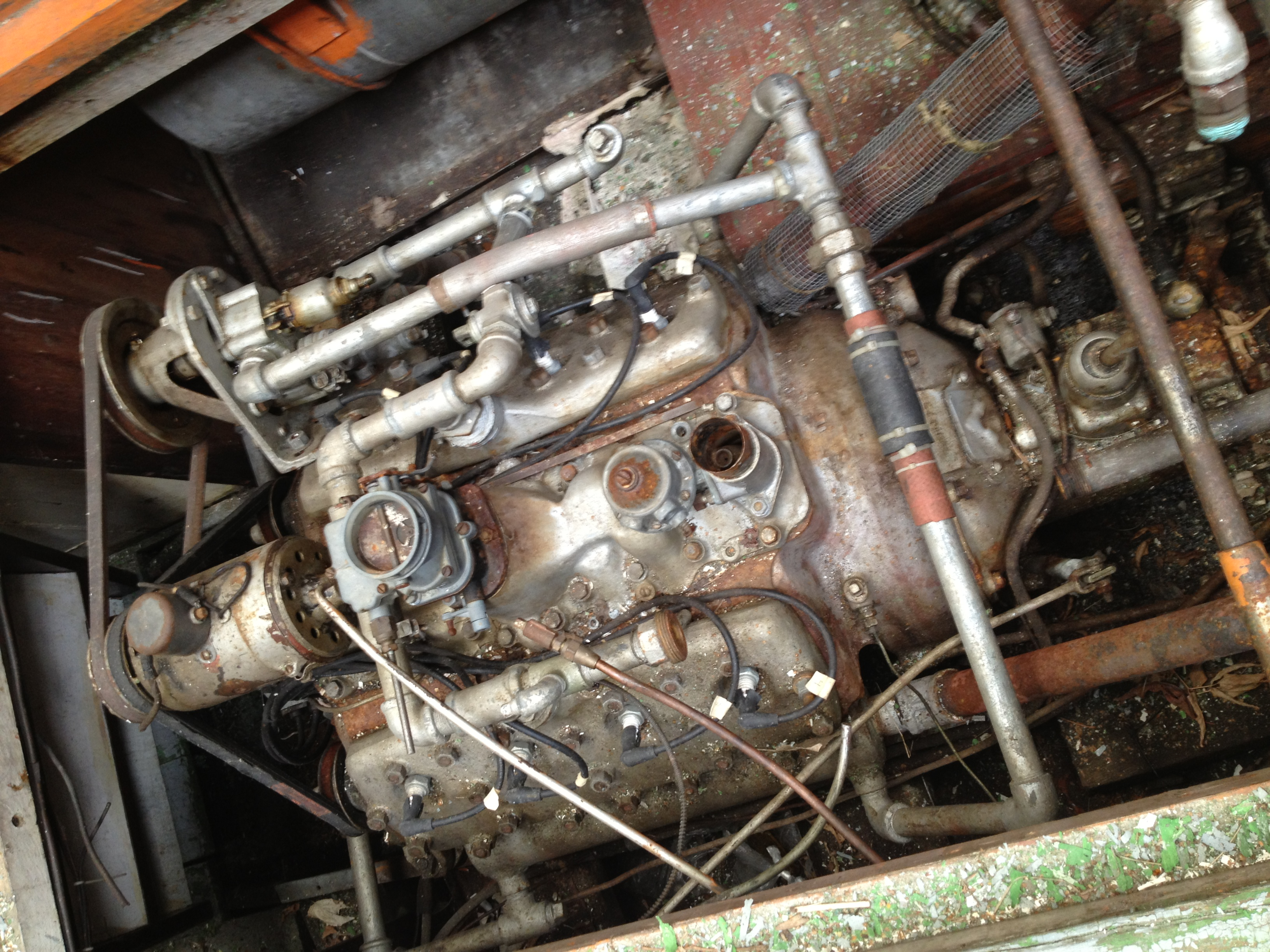 Home-marinized 1937 Ford Flathead V8,  Dreadnaught 's fourth engine, before removal.