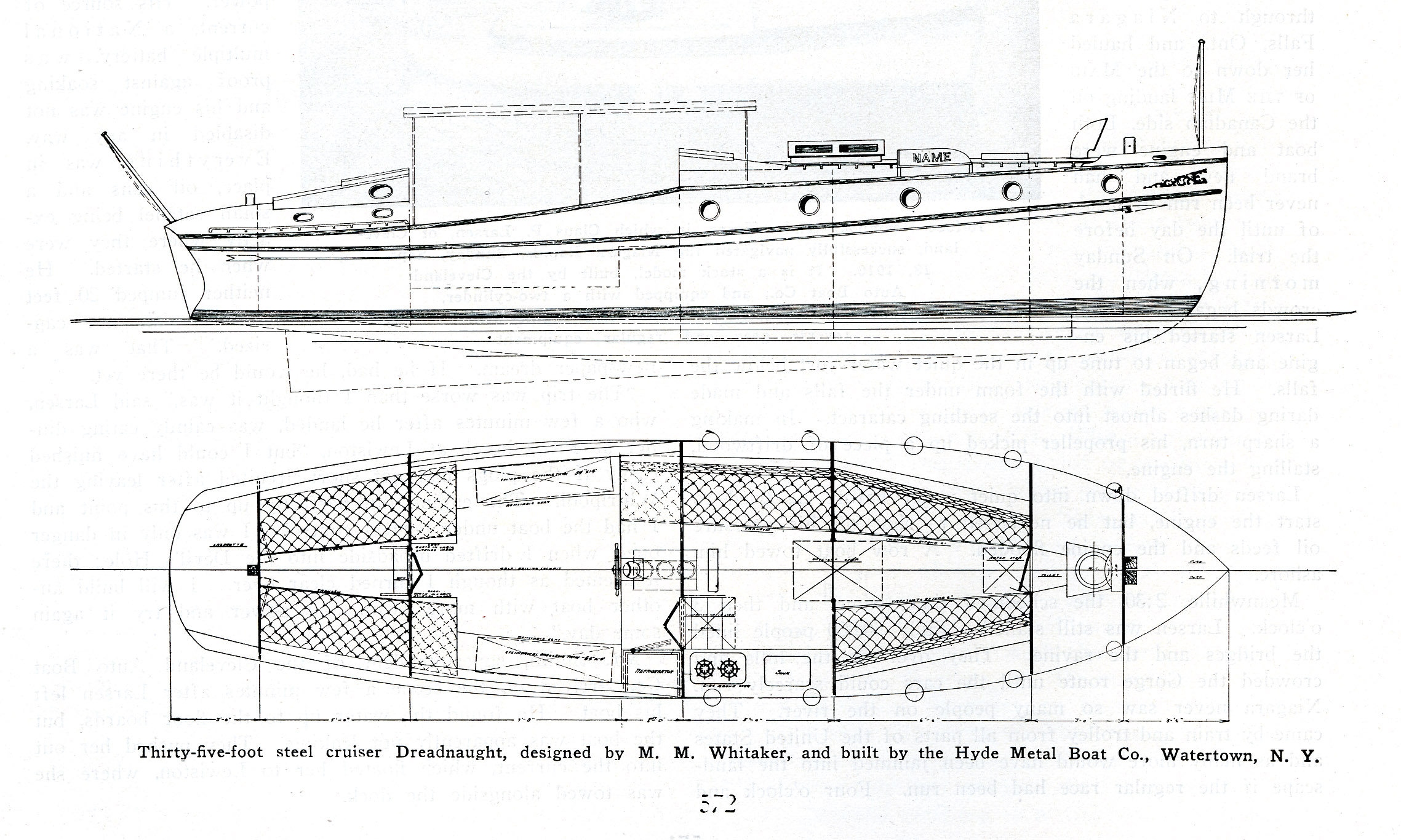Profile and plan of  Dreadnaught