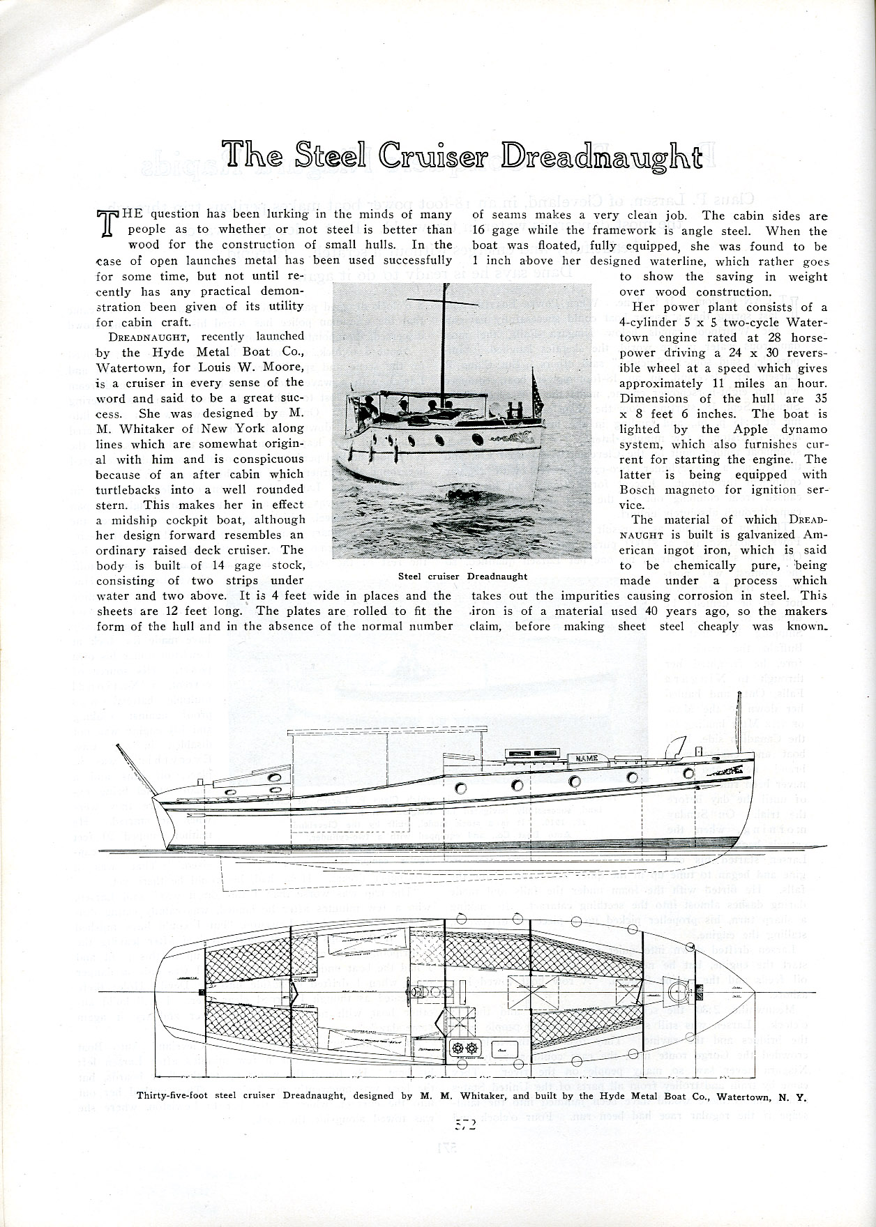 An article on  Dreadnaught  and the future of metal boats, from Power Boating magazine October 1910.