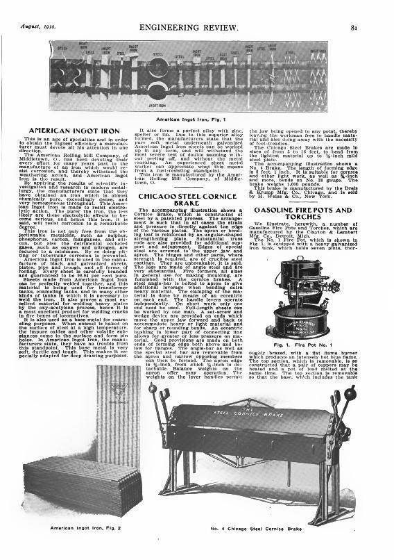 An article from 1910 on the material  Dreadnaught  is made of, galvanized American ingot iron, a product of the American Rolling Mill Co. Middleton Ohio.