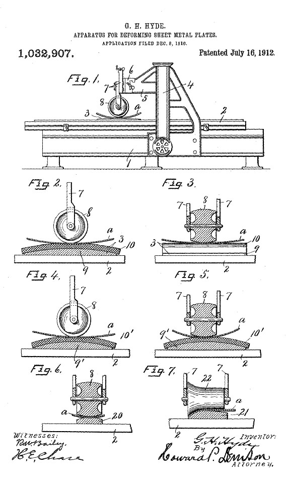 Patent drawings of the machine invented by George Hyde, which made possible the complex bends necessary to make an attractive boat out of sheet metal.