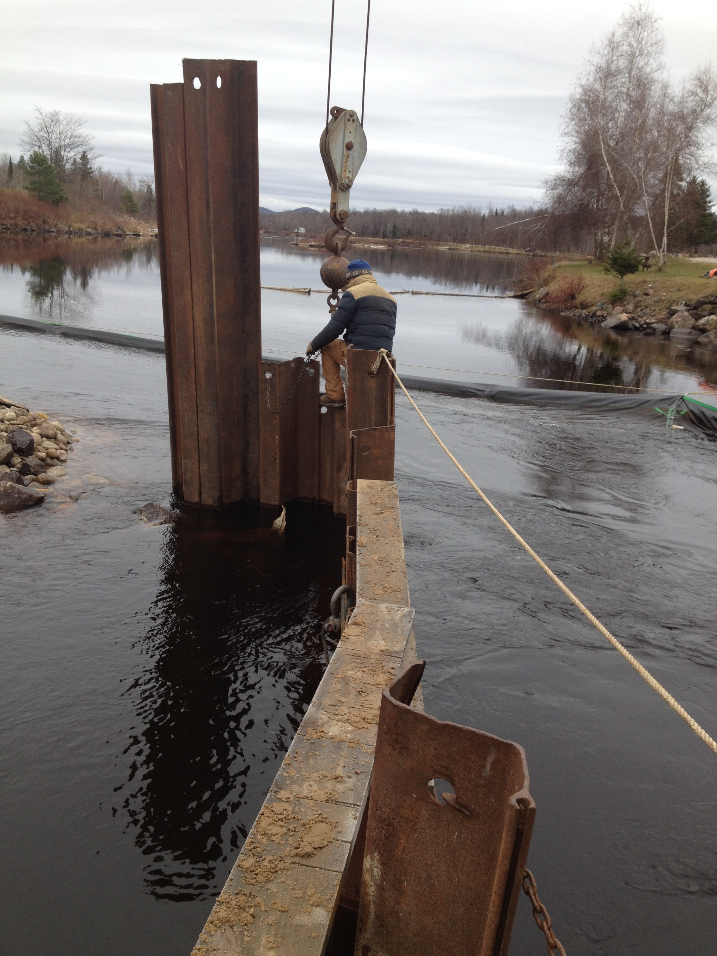 Pulling the sheet piling from the coffer dam.