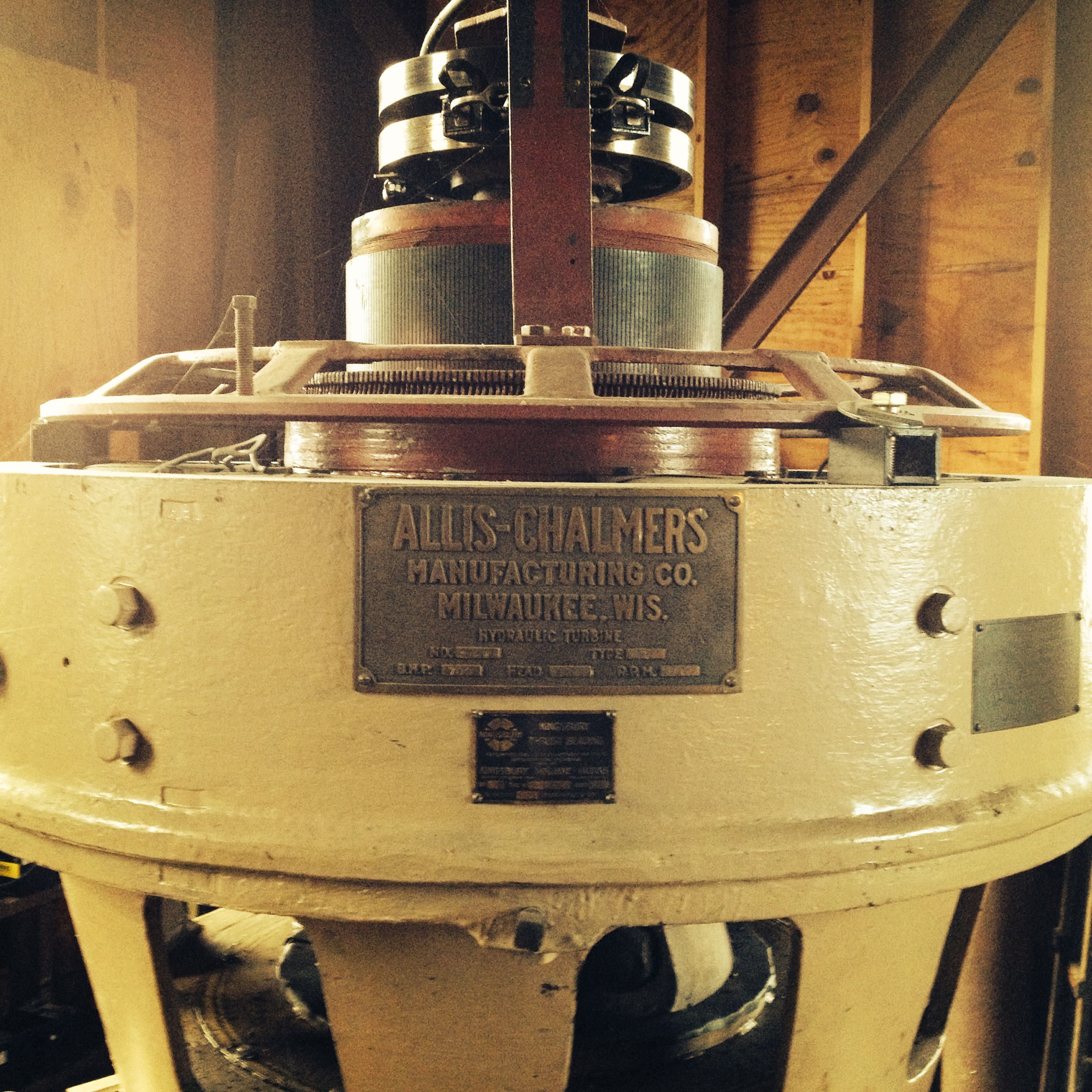 Allis-Chalmers excitation unit on the number one generator, 1917.