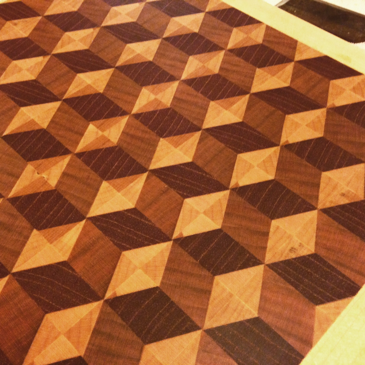 Interesting 3D pattern endgrain cutting board. Cherry, maple, Spanish cedar.