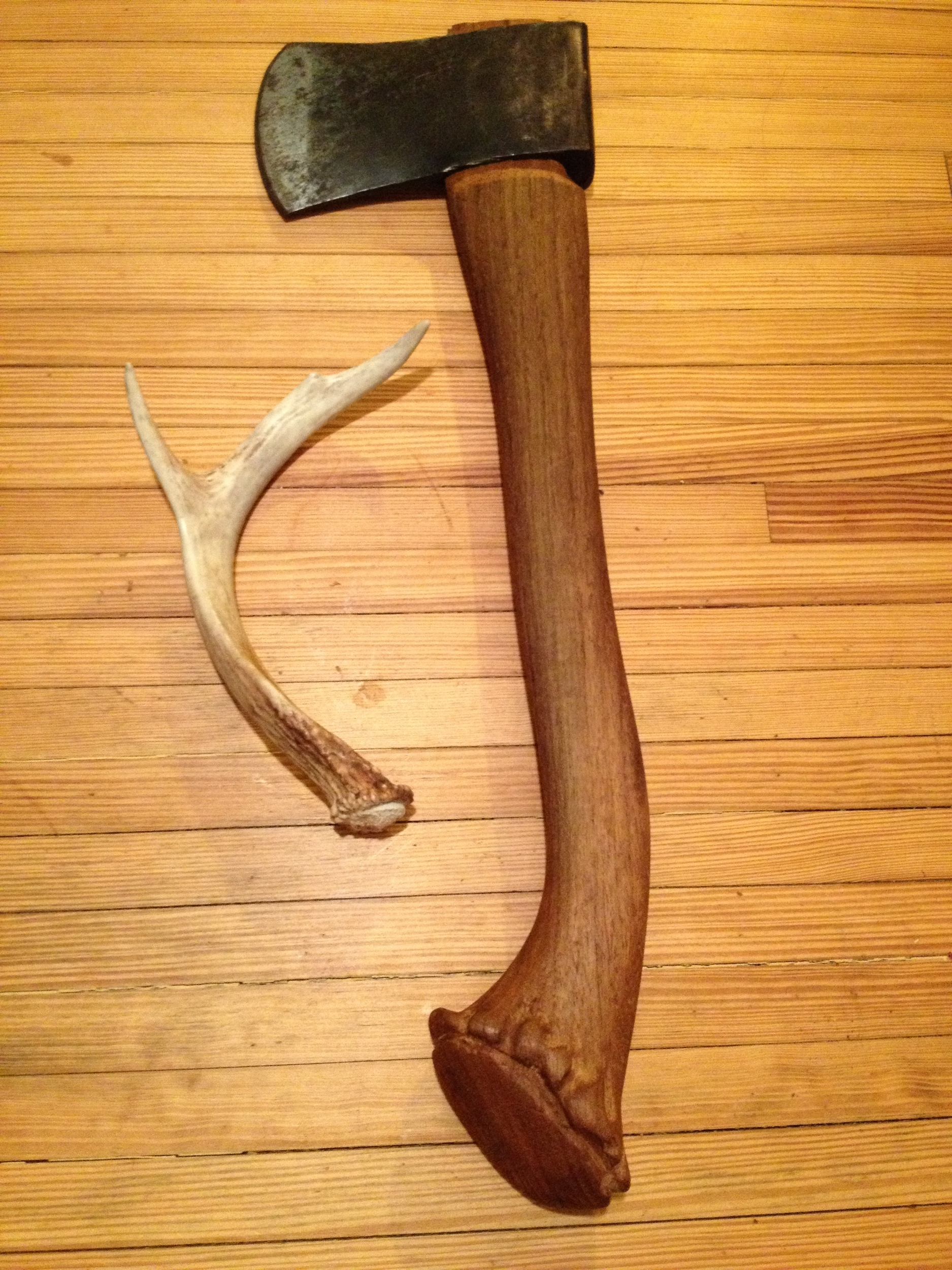 New hatchet handle with hand carved antler butt