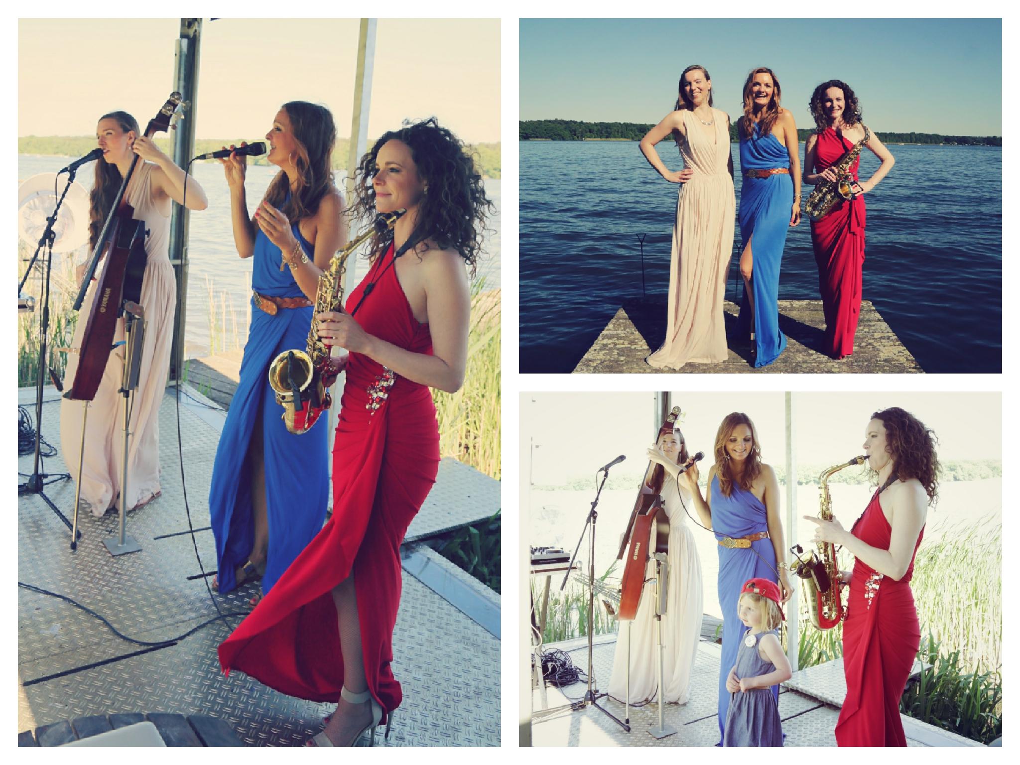 Moderatorin und Sängerin Iza Höll mit der Frauenband Sunset Orange in Zeuthen