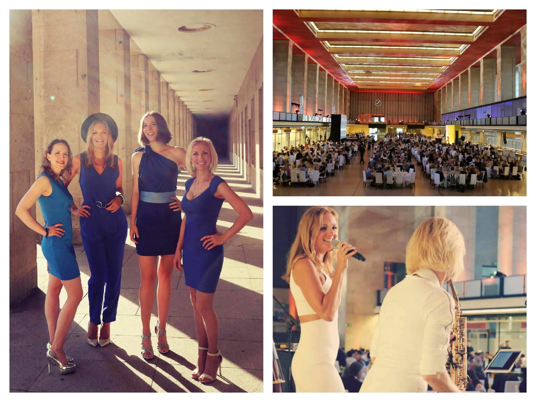 All-female band Sunset Orange aus Berlin beim Gala Dinner des IRC 2019 im Tempelhofer Flughafen