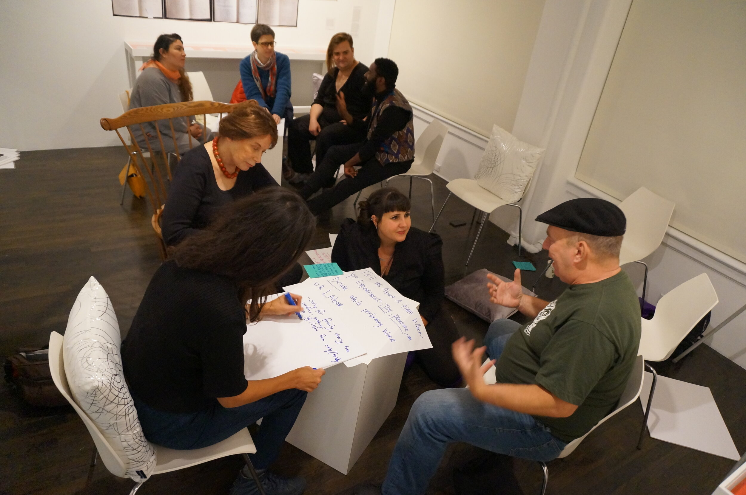 Image from workshop during Show don't Tell at the 8th floor/rubin foundation. Mel and Adelaide sit in conversation with six workshop participants while attendees write ideas on butcher paper.    image courtesy of the 8th Floor/Rubin foundation