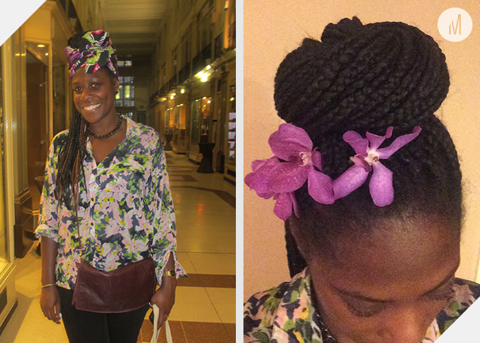 Head wrap styled by Akhu Designs and flowers provided by  Harriet Parry Flowers