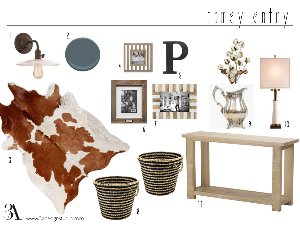 "Sourcing: 1. magnolia sconce from barnhouse electric // 2. nocturnal gray paint by benjamin moore // 3. brazilian cowhide rug // 4. threshold bar frame from target // 5. black ""P"" from hobby lobby // 6. threshold nest frame from target // 7. threshold wood inlay frame from target // 8. ikea maffens basket // 9. antique silver pitcher (I have a similar one) with a cotton flower arrangement // 10. currey and co. signature white table lamp // 11. ikea rekarne table"