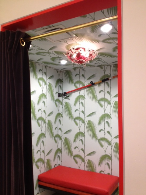 Cute lighting and fun wallpaper in the dressing rooms.