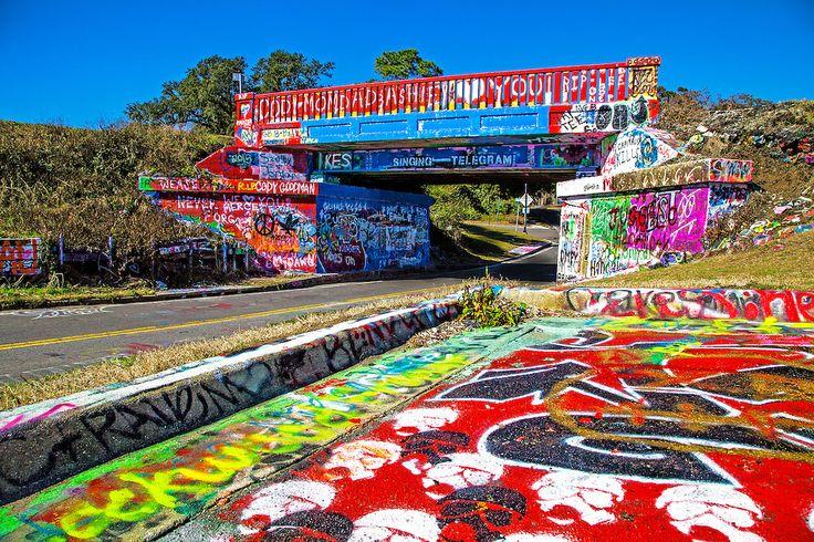 "17th Ave train trestle ""Graffiti Bridge"" popular landmark where graffiti is allowed and the facade is changed daily."