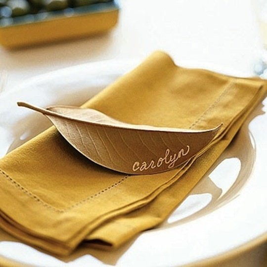 Leaves are another freebie you can use to create.  This magnolia leaf with white writing is perfect for a golden fall table.